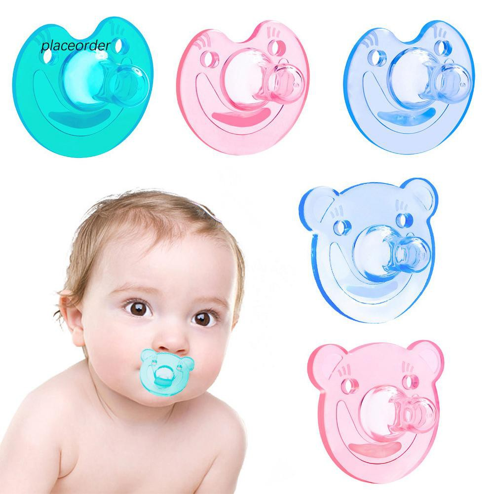 Newborn Babies For Dummies Peod Cartoon Bear Smiling Face Dummy Pacifier Silicone Newborn Baby Soother Nipple