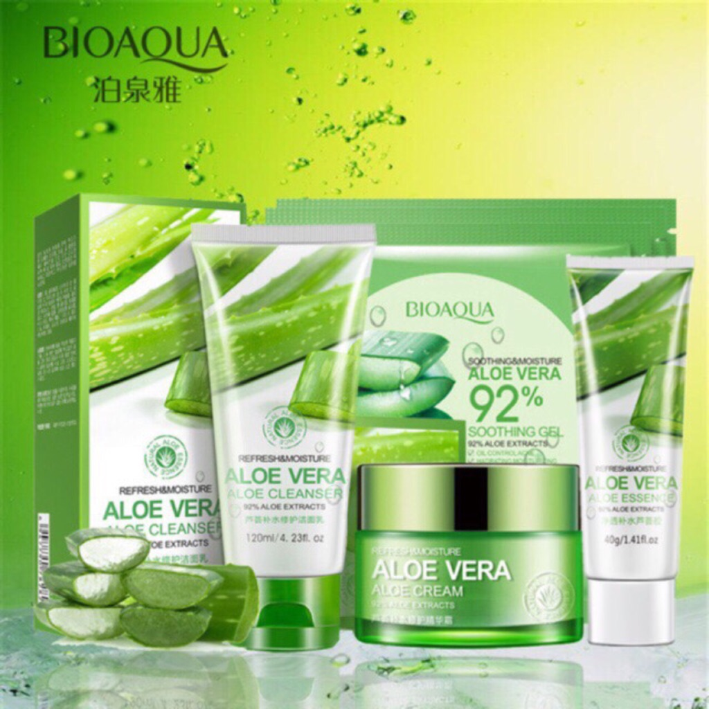 Aloe Vera Essen 8pcs Bioaqua Skin Care Set Rejuvenate Series Aloe Vera Hydrating Moisturizing