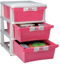 Nilkamal Plastic Pink 3 Chester Drawer, price, review and ...
