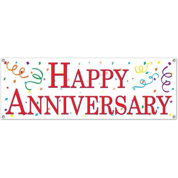 Happy Anniversary Sign Banner Party Accessory (1 count) (1/Pkg