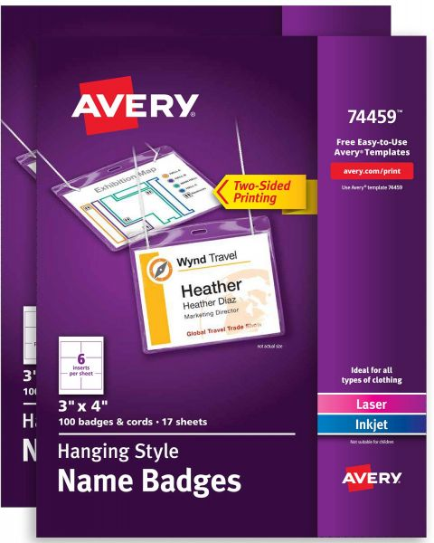 Avery Name Badges with Lanyards, Print or Write, 3\