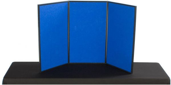 Displays2go 3-Panel Table Presentation Board, 54 x 30 Inches, Blue