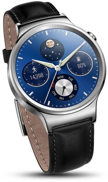 Huawei Watch \u2013 Stainless Steel With Black Leather Strap Souq - UAE