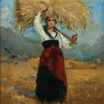 Leopoldo Romañach, Woman with a Bale of Wheat, c. 1880, oil on canvas, 35 5/8 x 24¼ inches. Collection of Terry and Linda Cole, Tallahassee, Florida. Photo credit: Jon Nalon