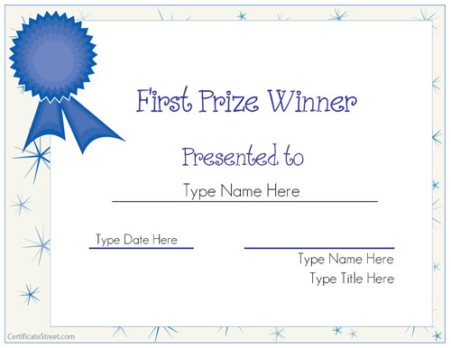 first place certificate template - 1st place certificate template