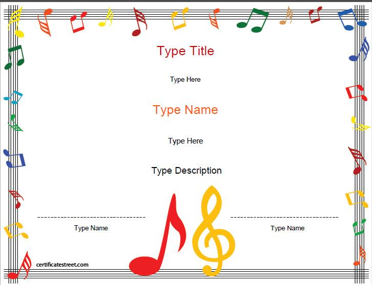 music award certificate template