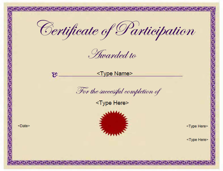 Participation Certificate 6 Free Templates In Pdf Word Excel