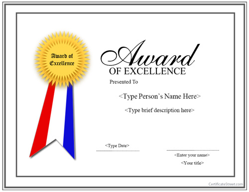 Certificate Template With Ribbon – Certificate of Excellence Template Free