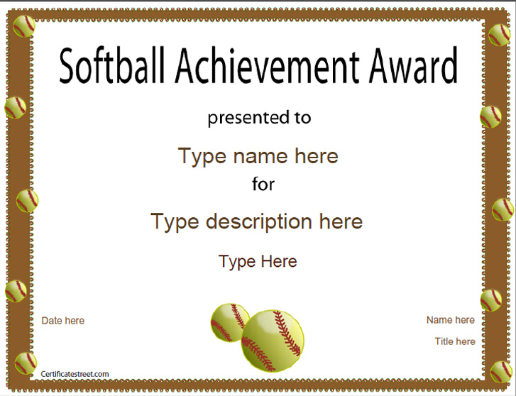 Softball Award Certificate Template Images - creative certificate