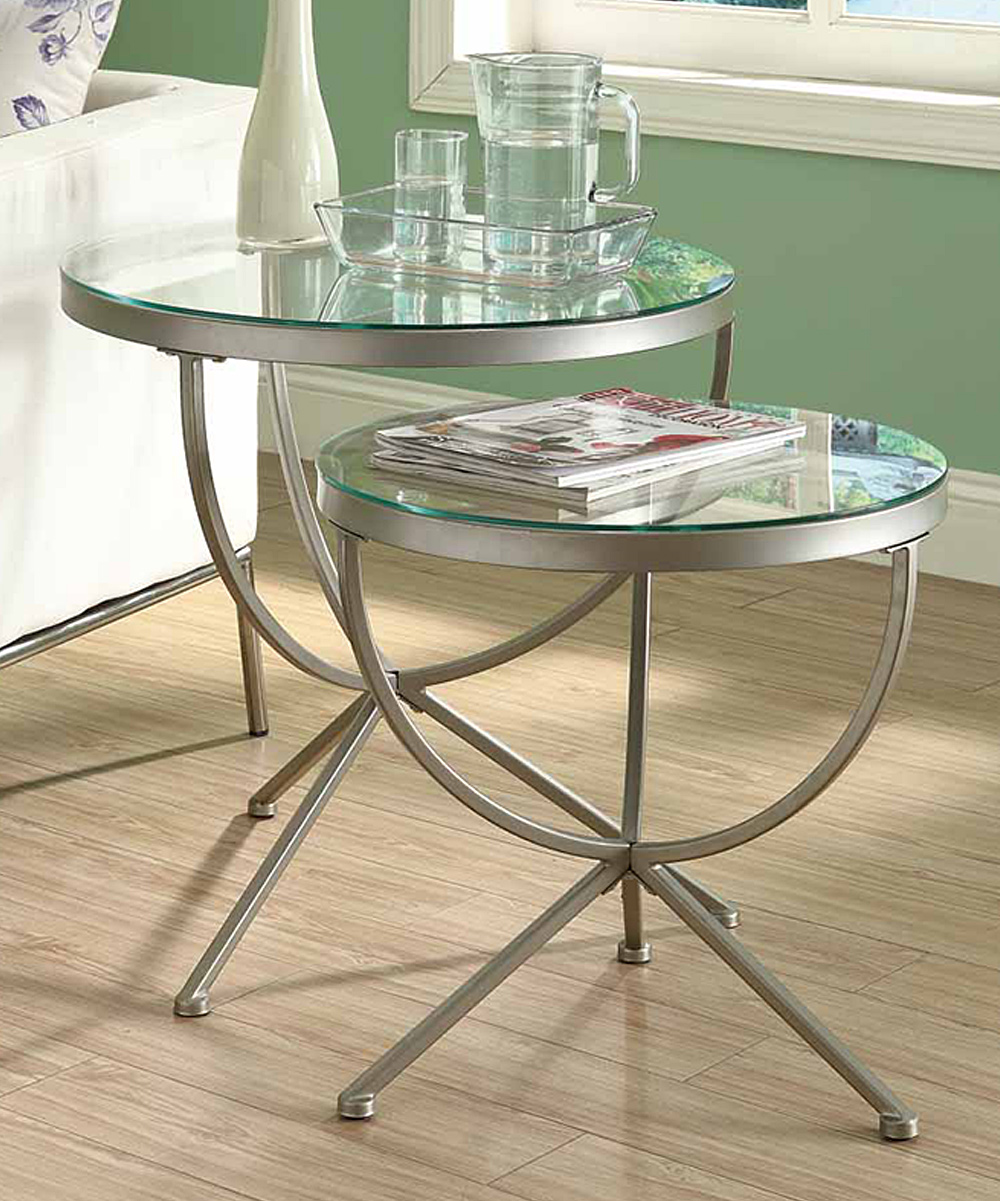 Glass Nesting Tables Monarch Specialties Satin Silver Globe Two Piece Nesting Table Set