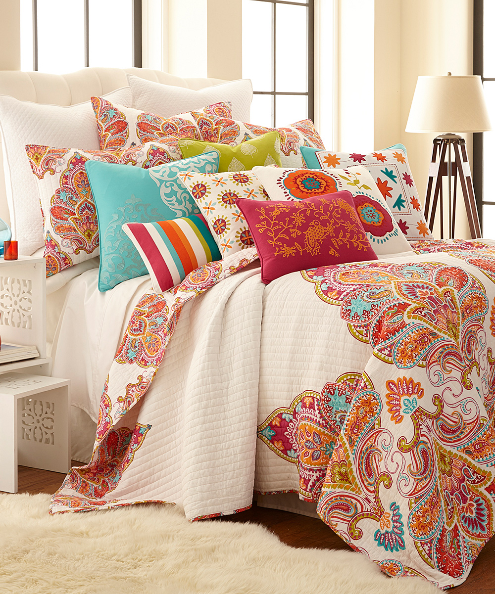 Quilt Sets Levtex Home Orange Natural Cotton Quilt Set
