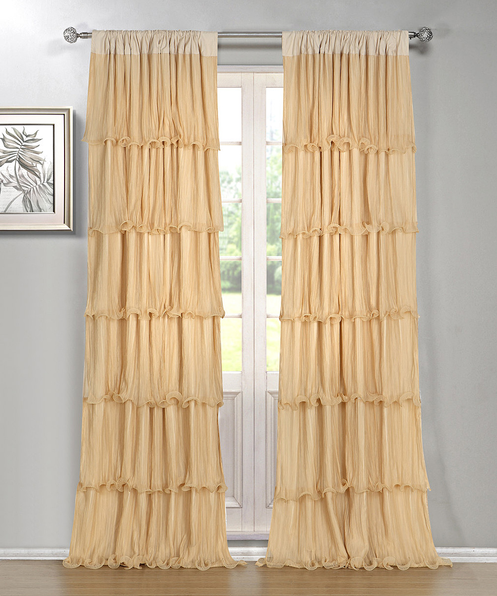 Ruffle Curtain Panel Dainty Home Gold Festival Ruffle Curtain Panel