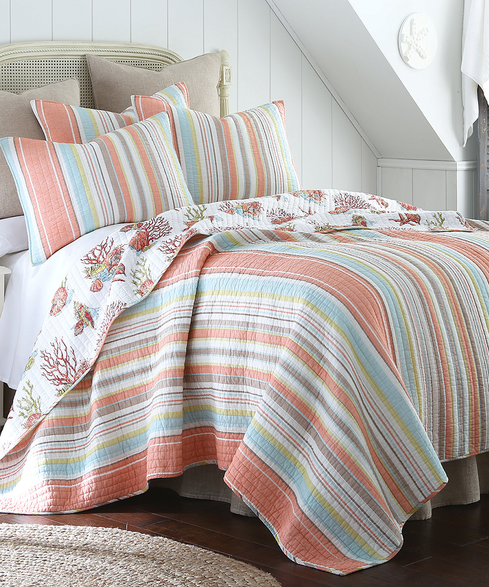 Quilt Sets Levtex Home Pink Aqua Stripe Quilt Set