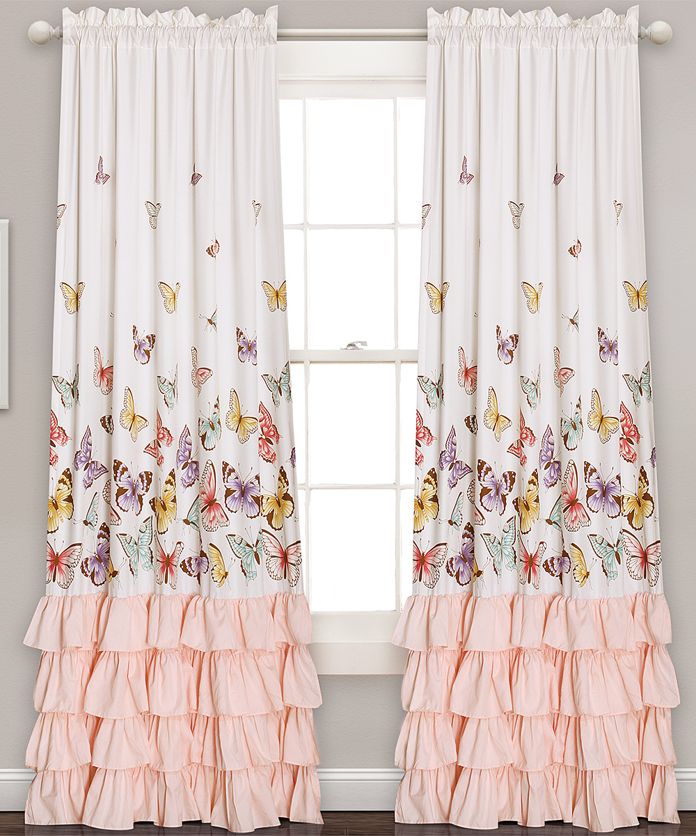 Ruffle Curtain Panel White Pink Ruffle Accent Butterfly Curtain Panel Set Of Two