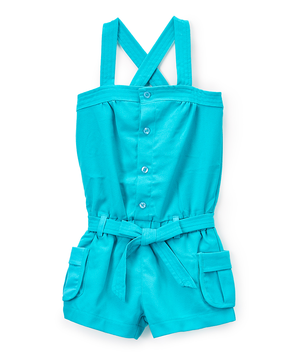 Piece Unik Unik Teal Button Up Crisscross Back Romper Toddler Girls