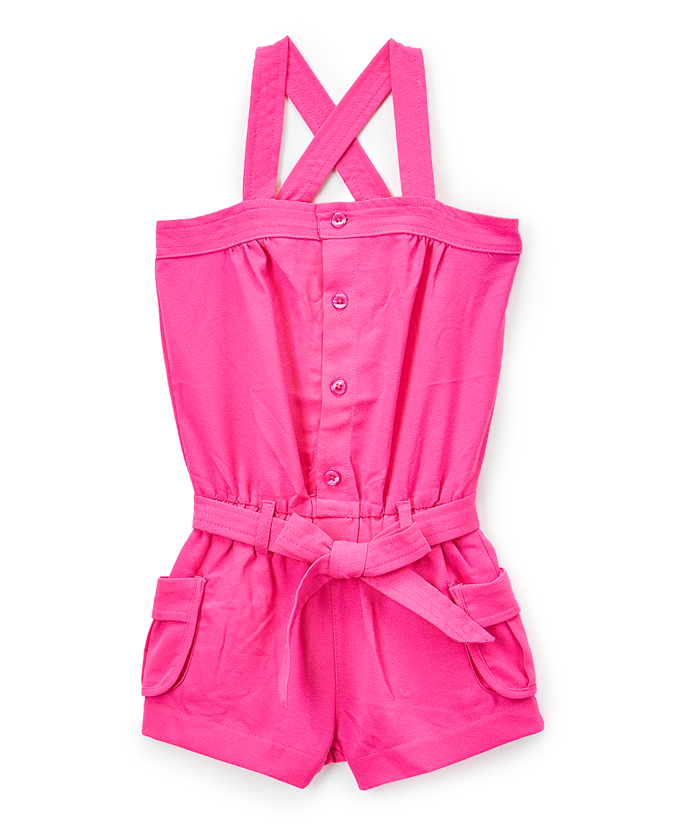 Piece Unik Unik Pink Button Up Crisscross Back Romper Girls