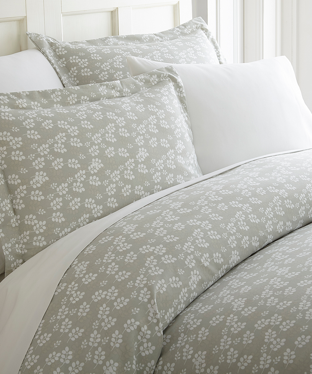 Soft Duvet Covers Ienjoy Home Collection Gray Leaf Ultra Soft Duvet Cover Set