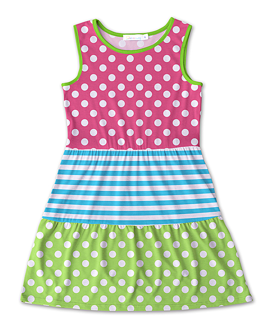 Sunshine Swing Pink  Green Polka Dot Stripe Tiered A-Line Dress