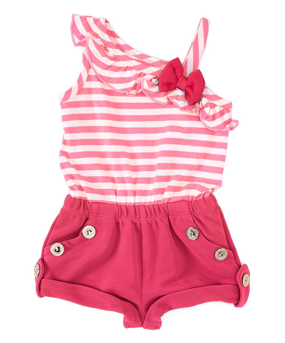 Piece Unik Unik Pink Stripe Button Front Layered Romper Girls