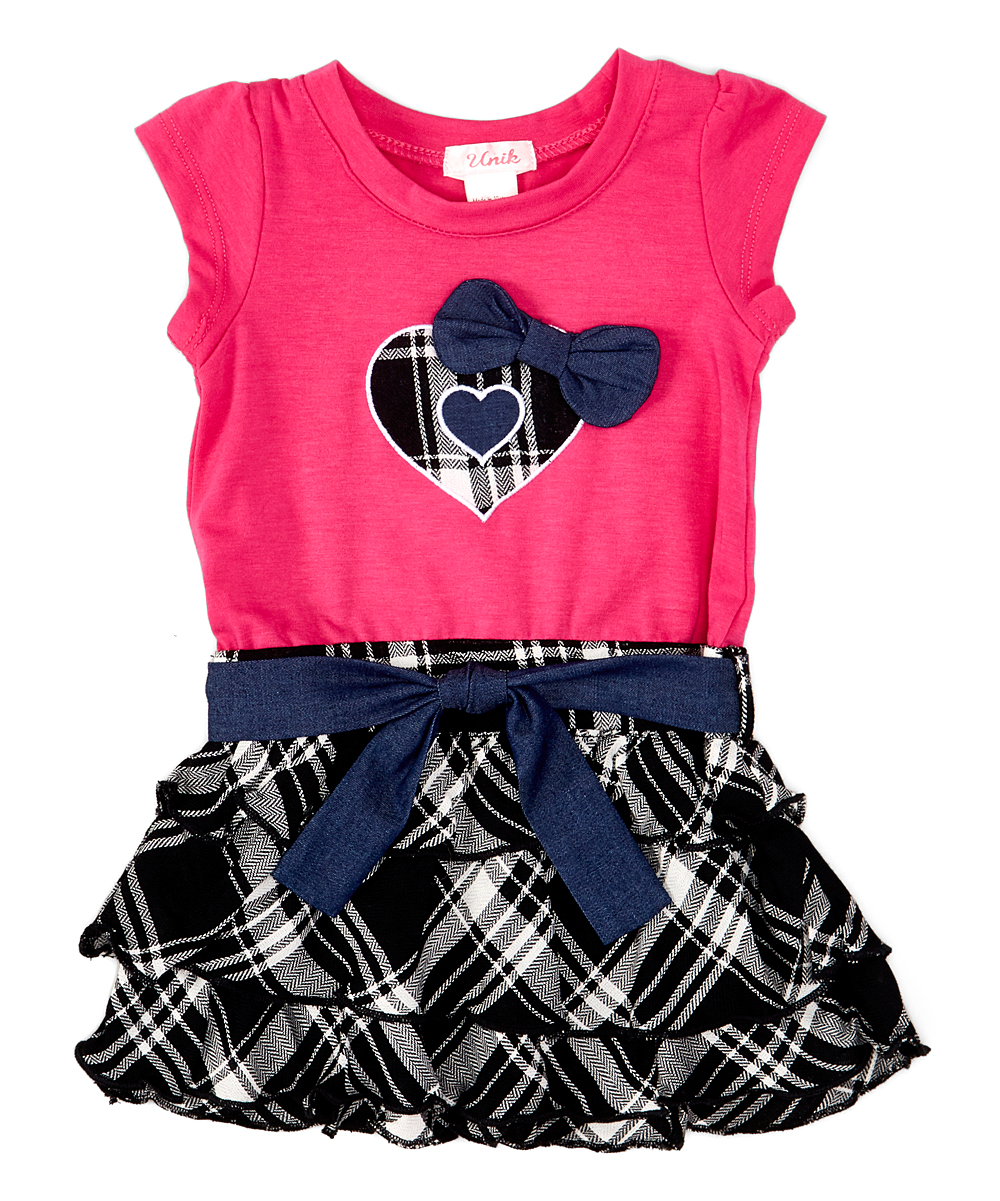 Piece Unik Unik Black Plaid Ruffle Skirt Layered Dress Toddler
