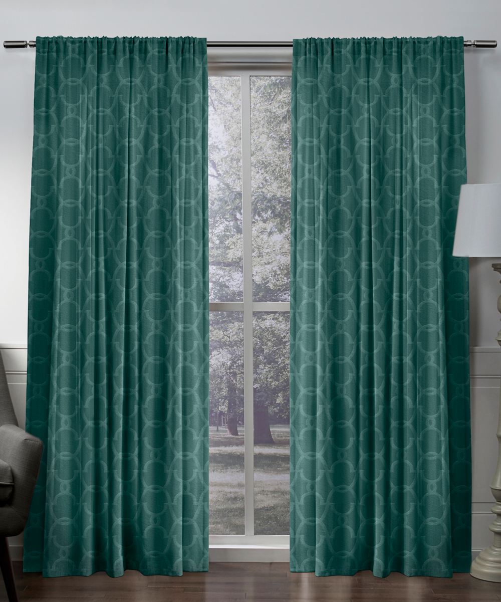 Teal Blackout Curtains Jaclyn Love Teal Stockade Embossed Velvet Blackout Curtain Panel Set Of Two