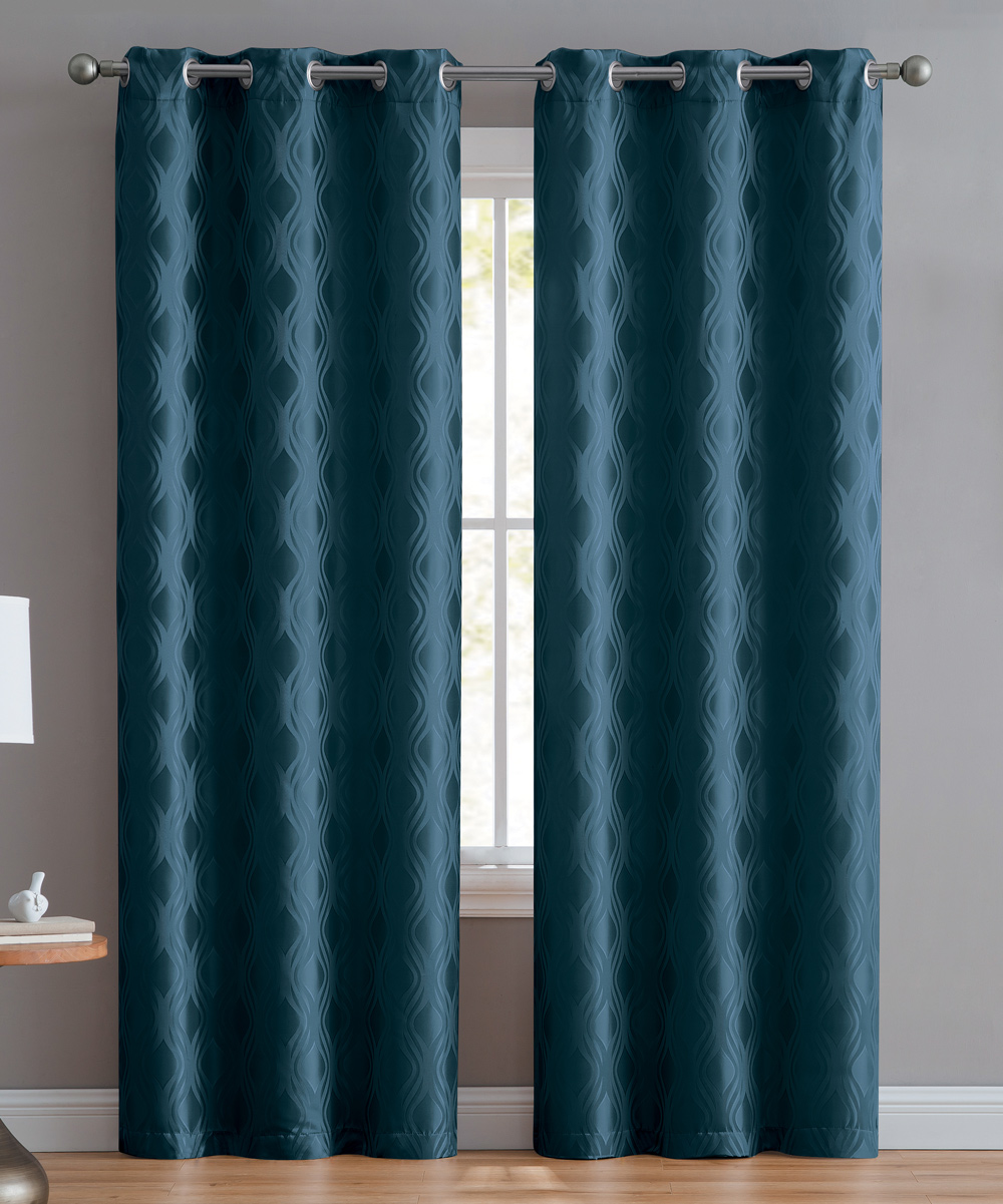 Teal Blackout Curtains Vcny Home Teal Blackout Stark Curtain Panel Set Of Two