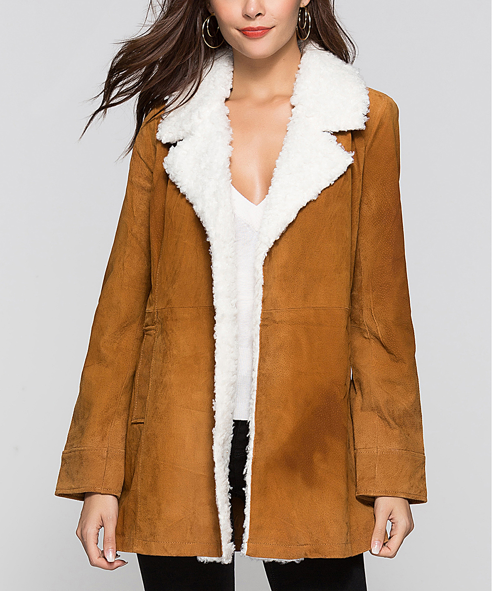Model Escalier Escalier Khaki Sherpa Collar Leather Coat Women