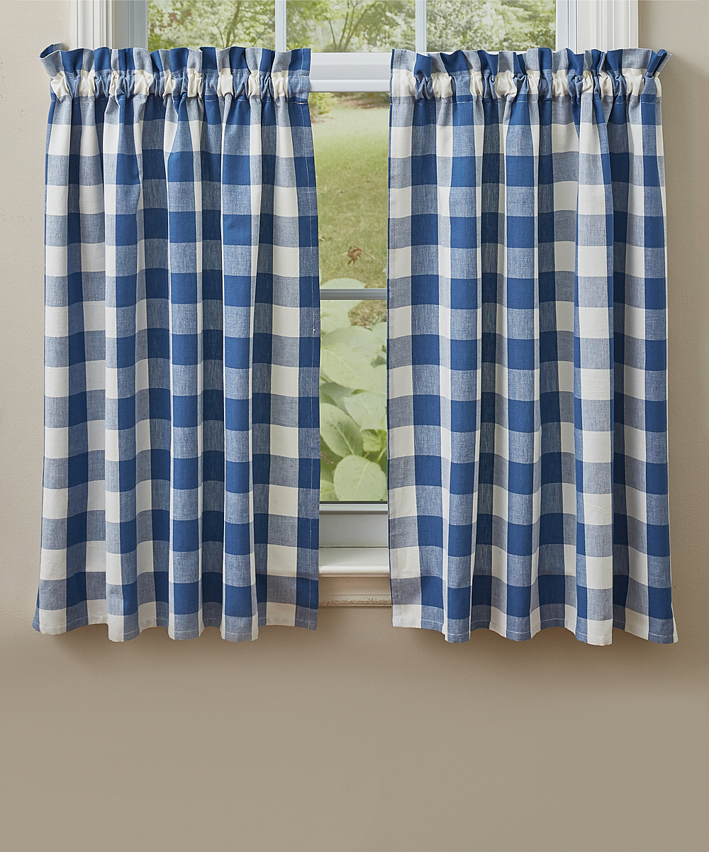 China Blue Curtains Park Designs China Blue Plaid Wicklow Tiered Curtain Panel Set Of Two