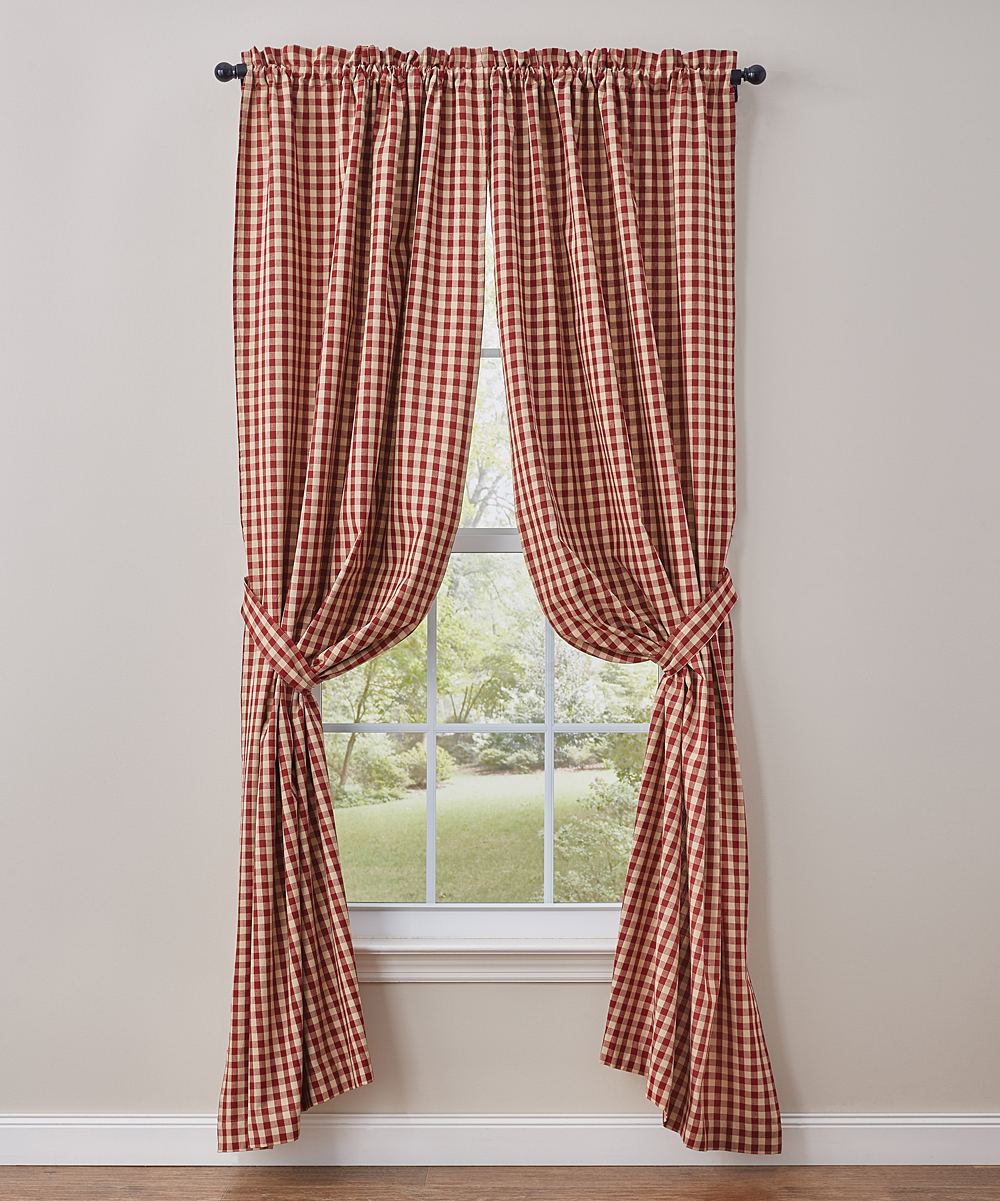 Cotton Curtain Panels Park Designs Red Plaid Crochet Gingham Lined 72 Cotton Curtain Panel Set Of Two