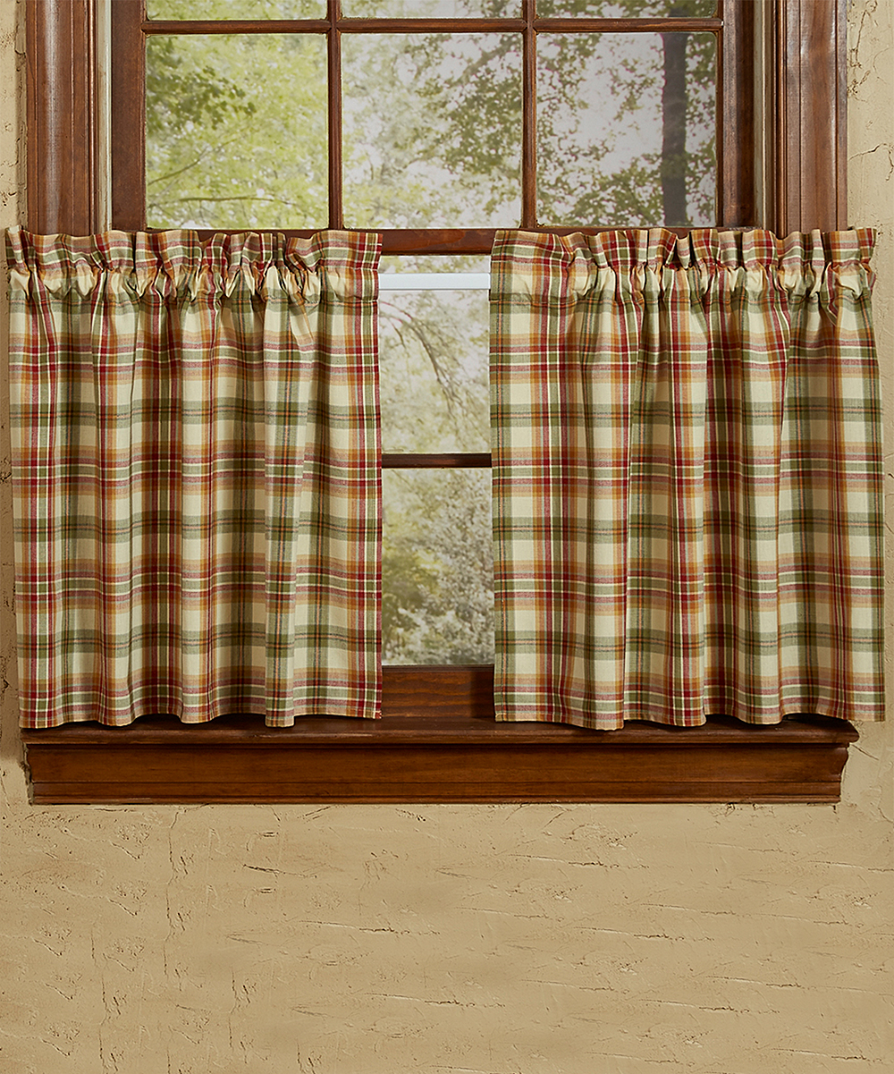 Lemon Green Curtains Park Designs Rust Green Plaid Lemon Pepper Tiered Curtain Panel Set Of Two