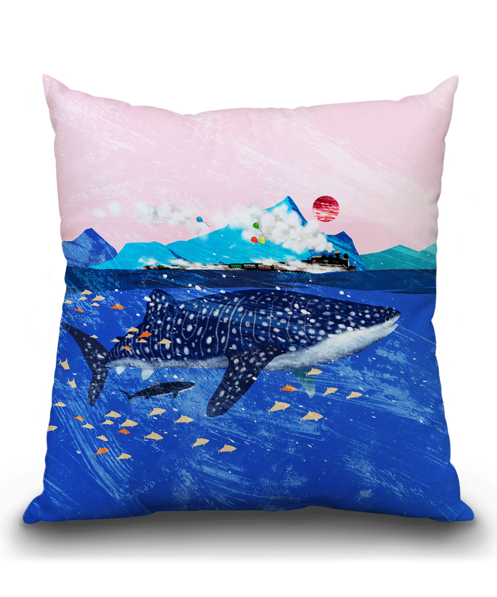 Big Couch Throw Lilipi Big Nose Work Whale Shark Steam Train Throw Pillow