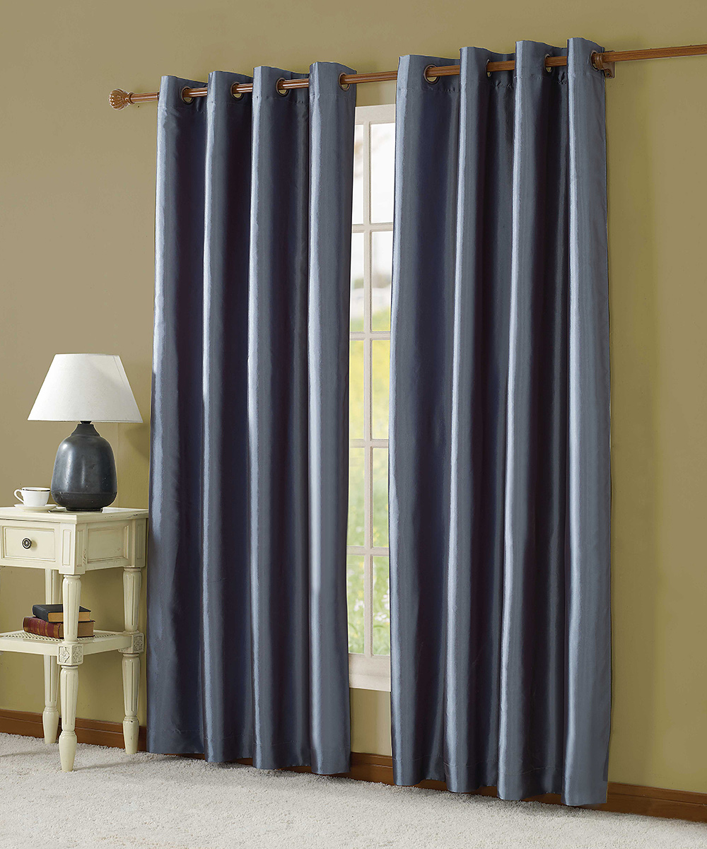 How To Make Lined Curtain Panels Vcny Home Blue Taffeta Lined Curtain Panel