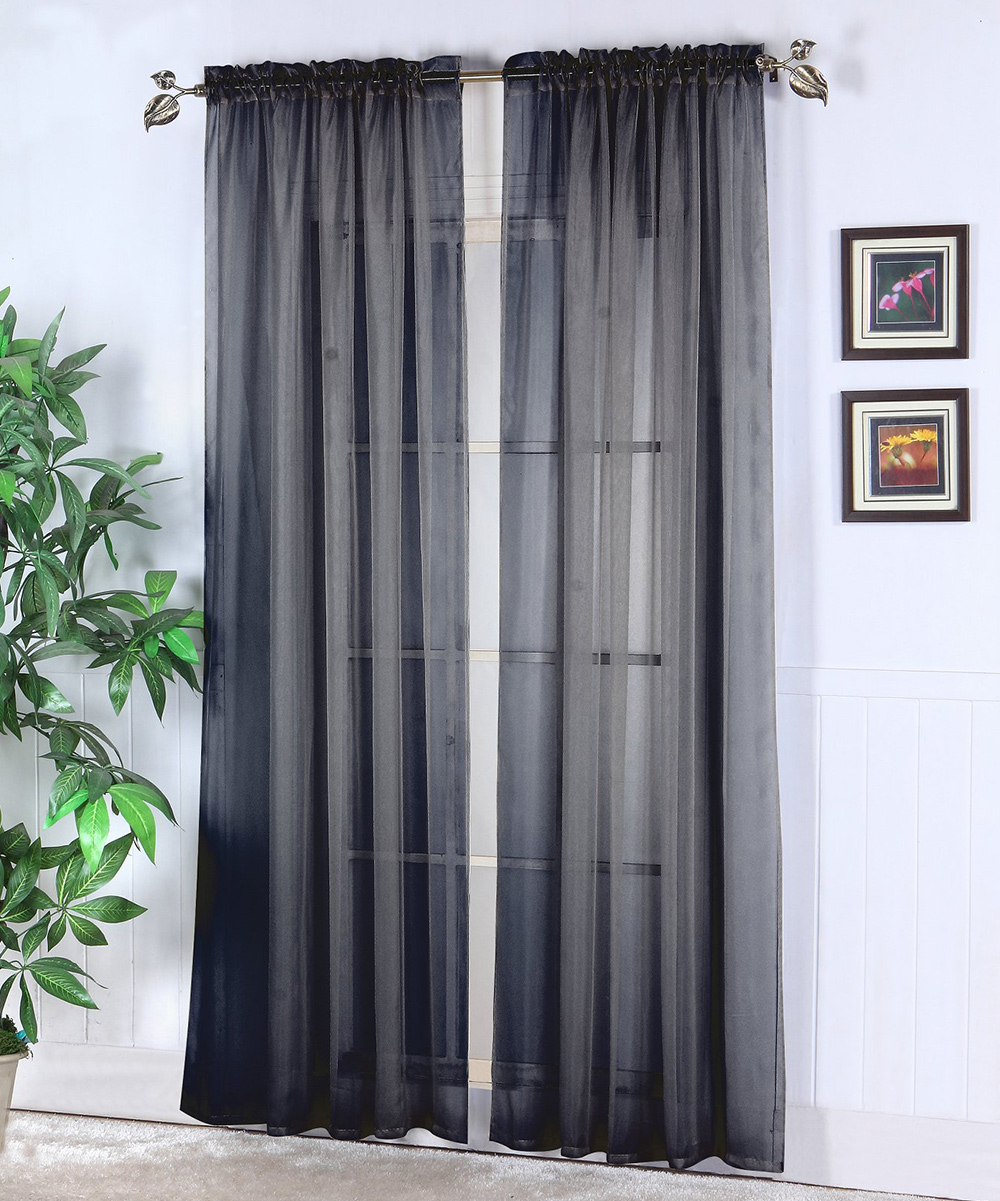 Black Voile Curtains Black Abby Sheer Voile Curtain Panel Set Of Two