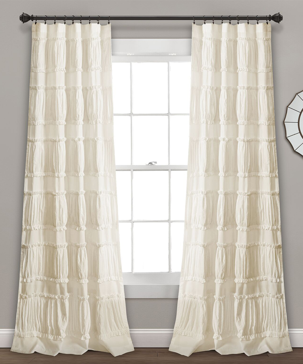 Ruffle Curtain Panel Ivory Ruffle Nova Curtain Panel Set Of Two