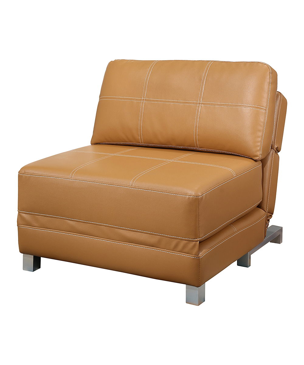 Futon Convertible 1 Place Camel Hammond Faux Leather Convertible Futon Chair