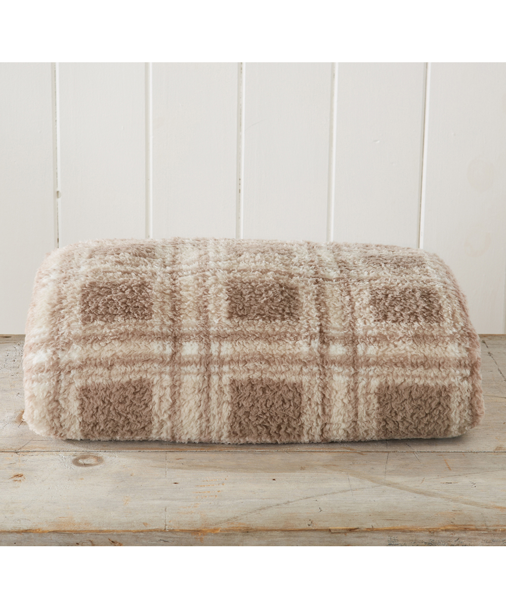 Plaid Taupe Home Fashion Designs Taupe Plaid Faux Sherpa Blanket