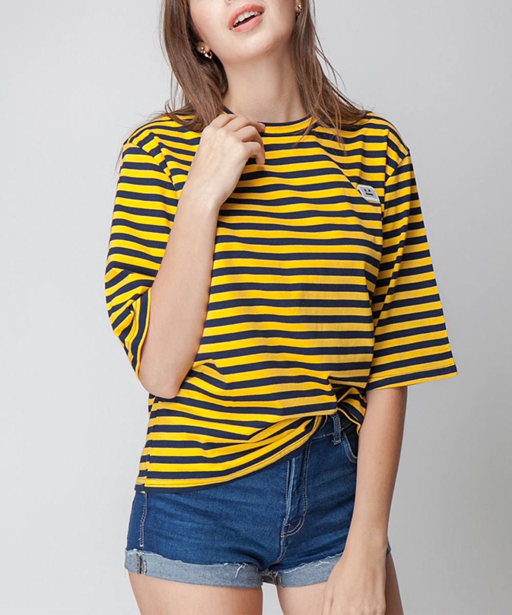 Model Escalier Escalier Yellow Stripe Crewneck Tee Women