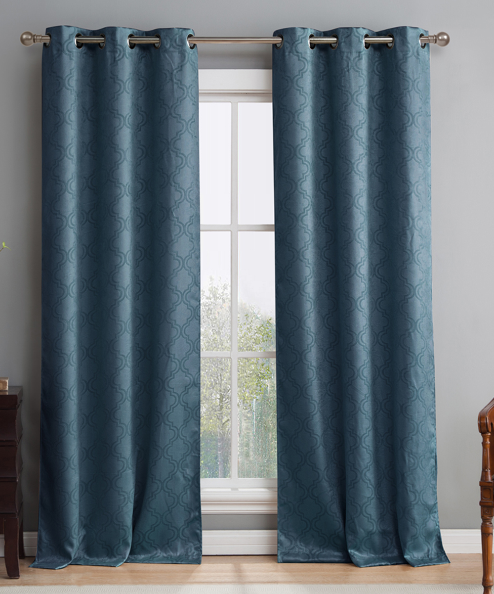 Teal Blackout Curtains Hlc Me Teal Blue Lattice Thermal Blackout Curtain Panel Set Of Two
