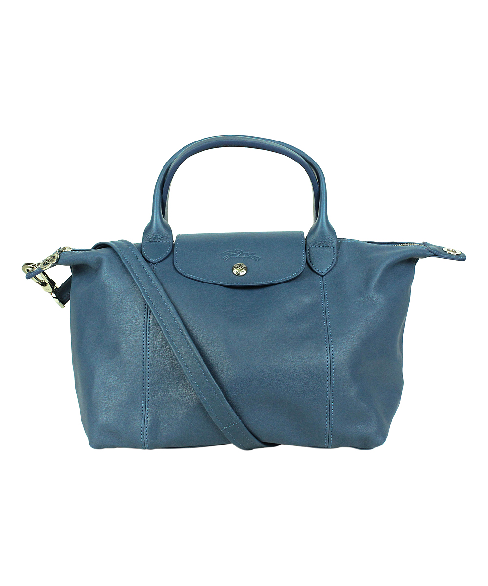 Leather Cuir Longchamp Pilot Blue Le Pliage Cuir Leather Small Tote