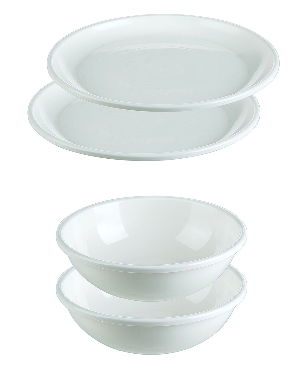 Microwave Plate Progressive White Four Piece Microwave Plate Bowl Set