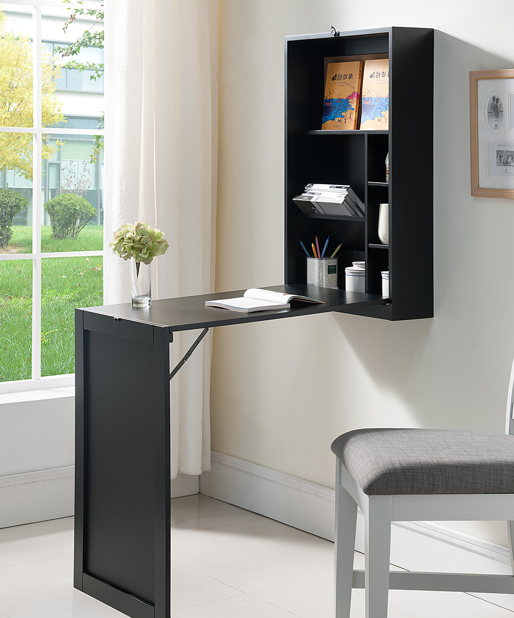 Wall Mounted Desks For Small Spaces Pilaster Designs Black Wall Mounted Fold Out Convertible Writing Desk