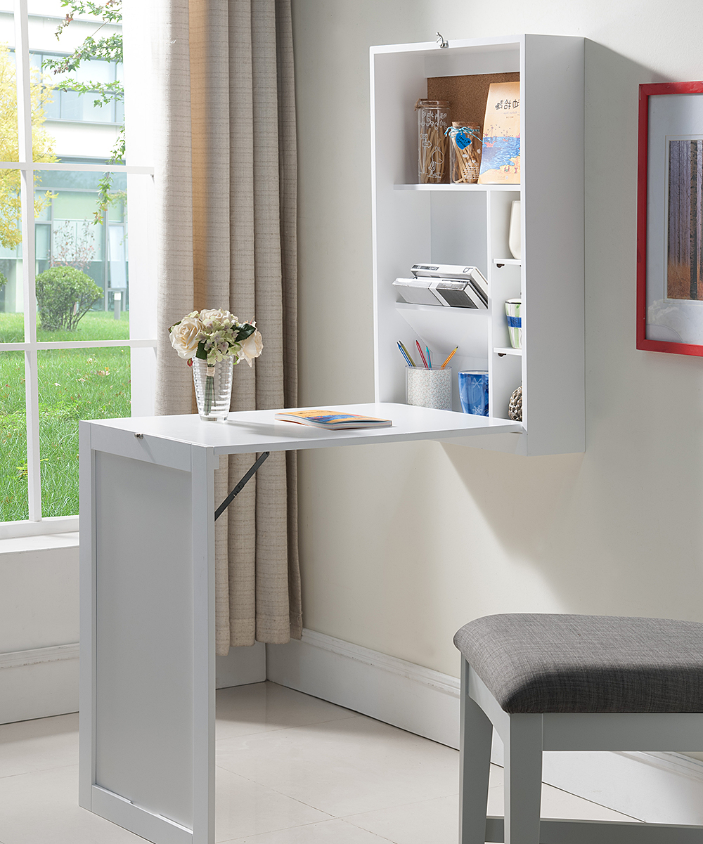 Wall Mounted Desks For Small Spaces Pilaster Designs White Wall Mounted Fold Out Convertible Writing Desk