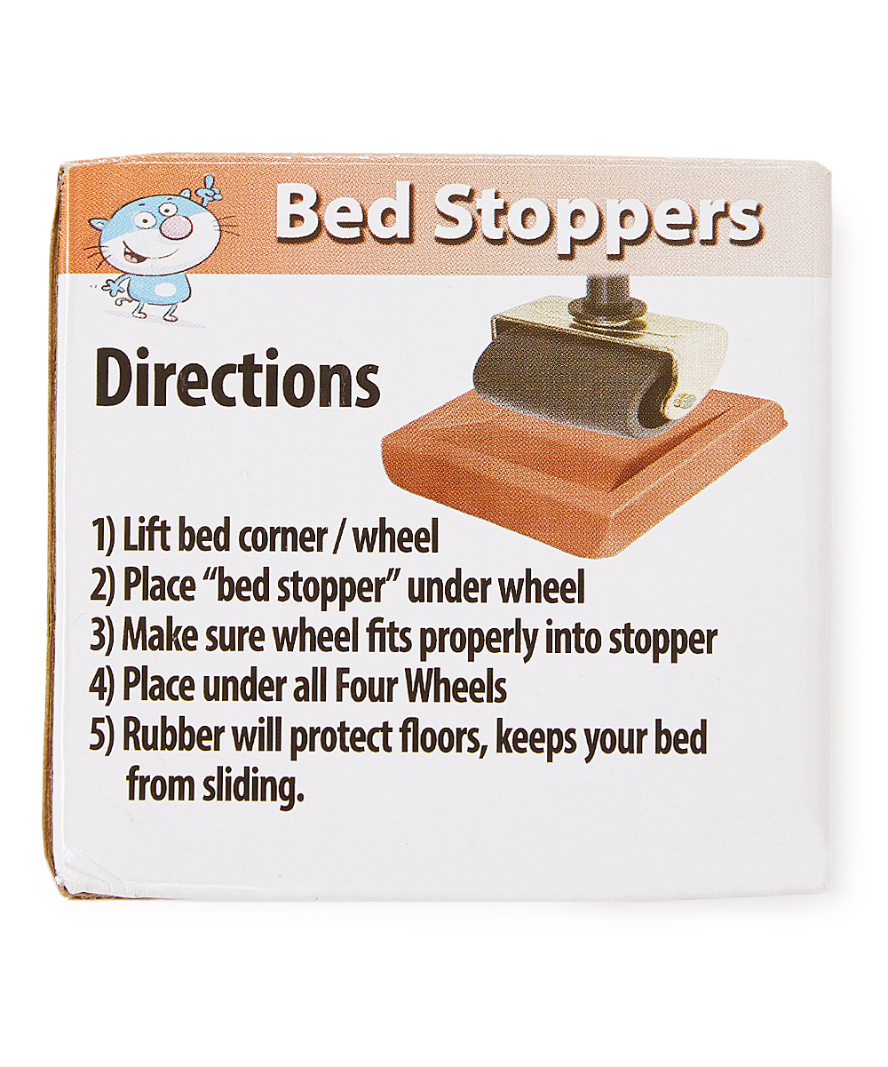 Bed Wheel Stoppers Sliptogrip Brown Bed Stopper Set Of Four