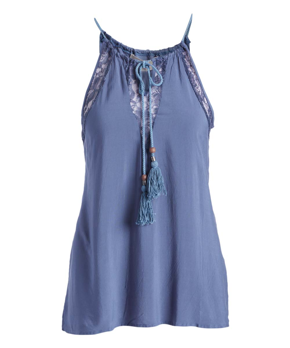 70 247 Pretty Angel Blue Tie Accent Linen Blend Tank Women