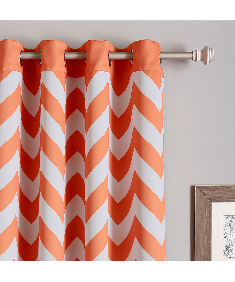 Orange Curtain Panels Best Home Fashion Orange Chevron Room Darkening Curtain Panel Set Of Two
