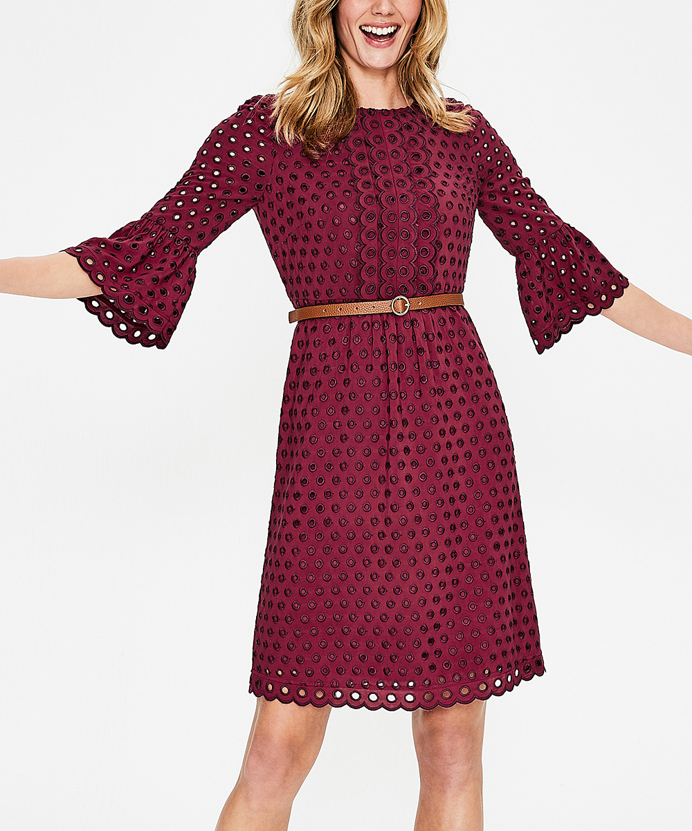 Boden 24 Boden Wine Scallop Broderie Dress Women