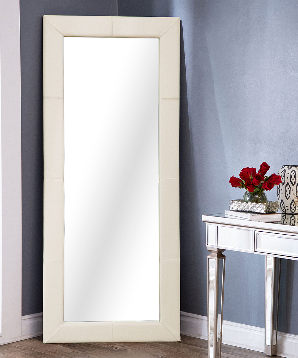 White Floor Mirror White Delano Leather Trim Floor Mirror