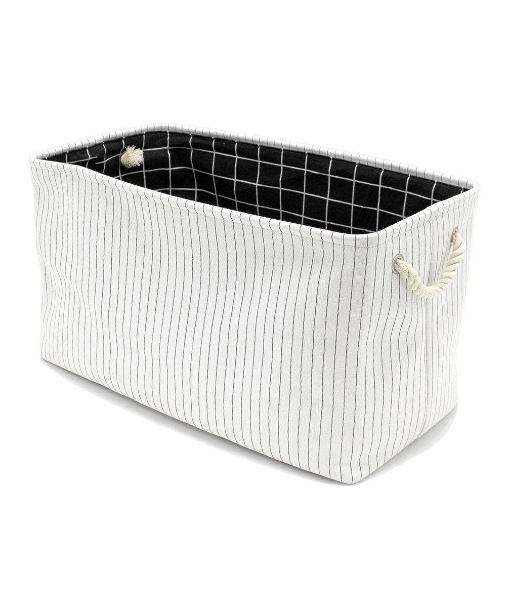 Metal Wash Bin Handcrafted 4 Home White Pin Stripe Rope Handle Canvas Laundry Bin