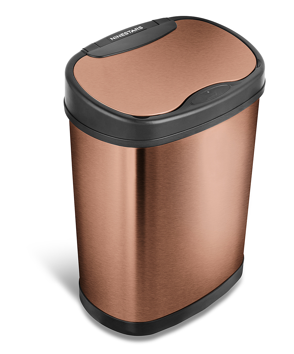 Copper Trash Can With Lid Nine Stars Goldtone Motion Sensor Trash Can