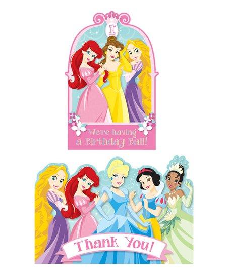 Disney Princess 1st Birthday Invitation  Thank You Card set Zulily